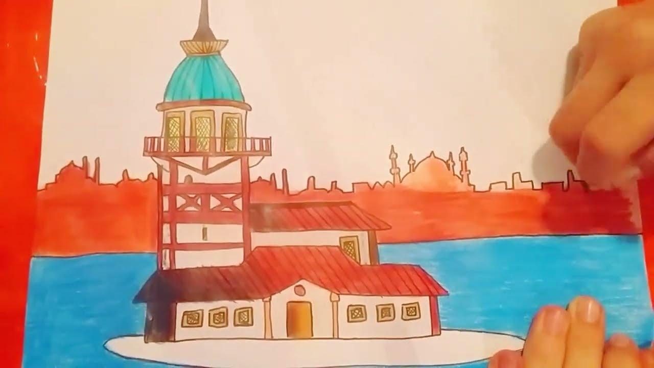 çok Kolay Kız Kulesi çizimi Youtube