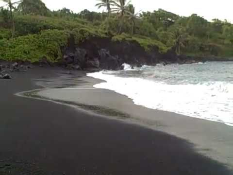 Black Sand Beach On The Road To Hana Maui Hawaii June 2017