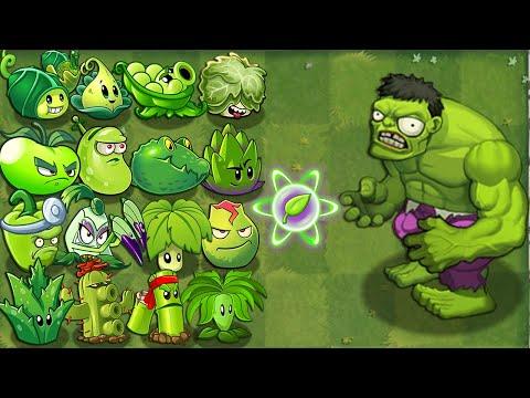 All GREEN Plants Power-Up! vs Gargantuar (PVZ2)
