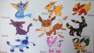Vẽ các dạng tiến hóa của pokemon  Eevee  p2 -  Drawing Tutorial Pokemon p2
