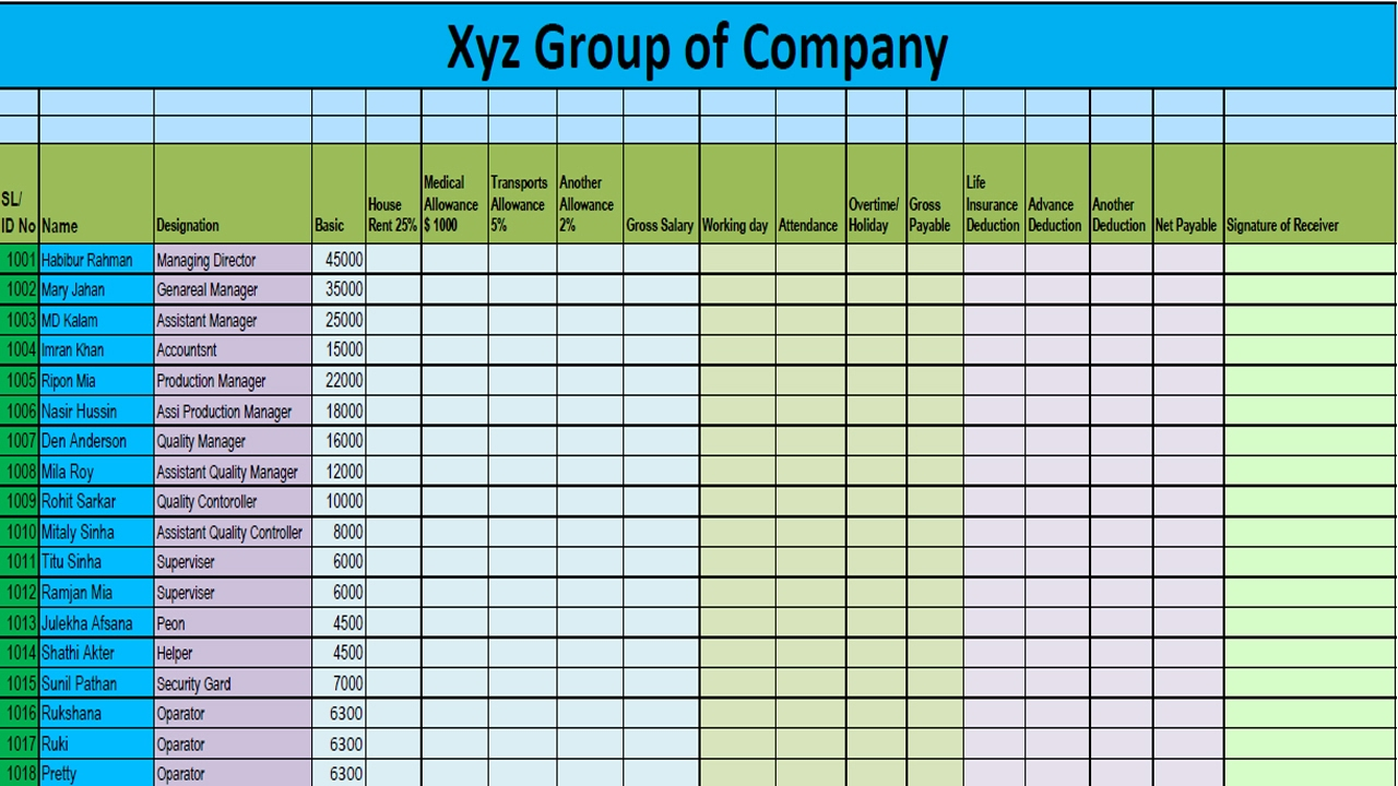 ms excel salary sheet making part 2 format