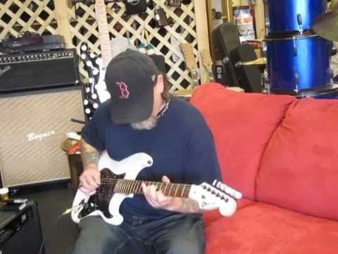 "Richard ""Rack"" playing a Sixx Gun Music Jake E Lee ""Whitey"" tribute guitar"