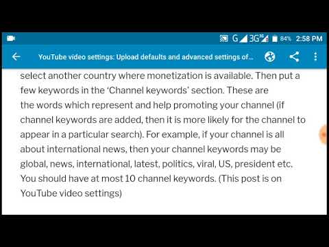 YouTube video settings: Upload defaults and advanced