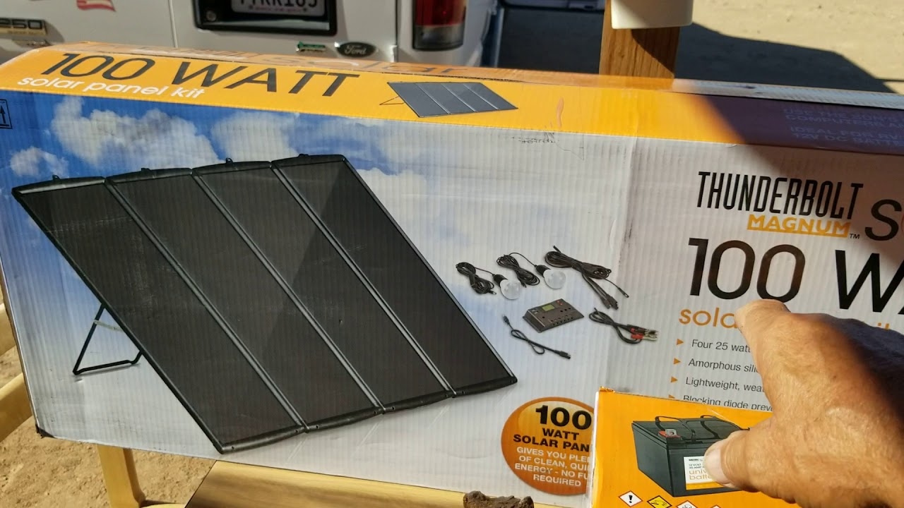 Harbor Freight Solar Panel Kit And 35ah Agm Battery Review 7 21 19 Youtube