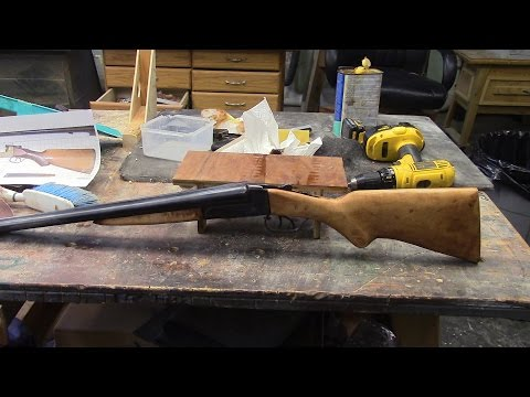 Making Gun Stock For Flues 1920 Ithaca Double Barrel Shotgun MM 103