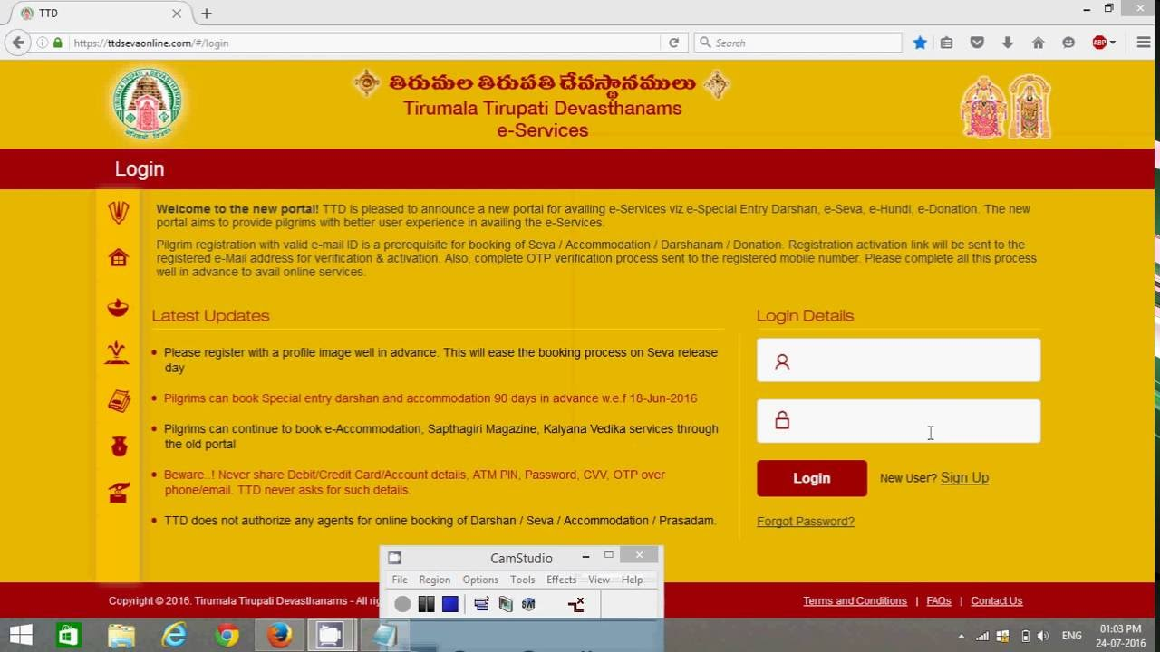 ttd seva tickets booking in online
