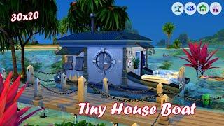 ⛵TINY HOUSE BOAT🌊  Sims 4 Speed Build   No CC