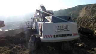 Liebherr R 984C Loading Caterpillar 775E