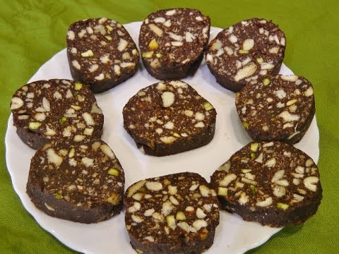 No Bake Chocolate Biscuit Cake / Chocolate Salami by madhurasrecipe