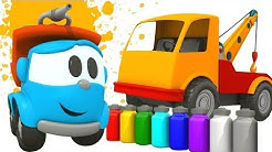 Opi värejä Kuormuri Leon kanssa. Auton maalaaminen. Leluautopiirrettyjä lapsille.