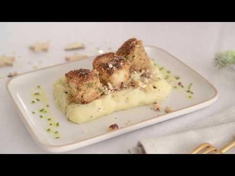recette-facile-de-saint-jacques-panées-aux-herbes-et-à-la-noisette,-écrasé-à-la-truffe