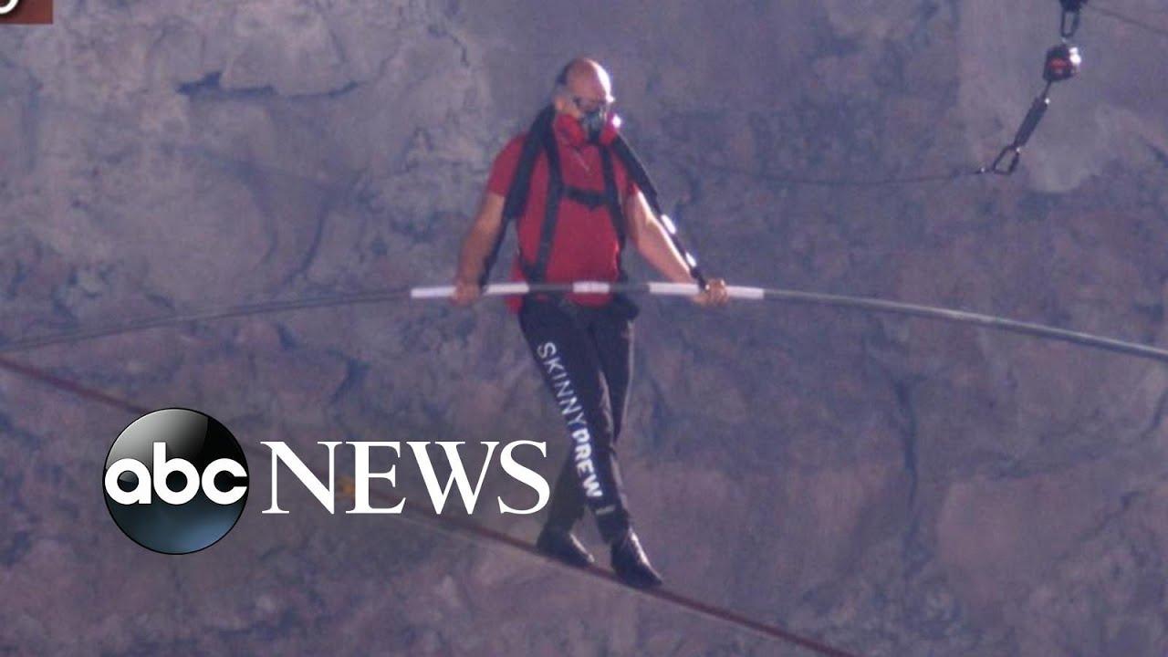 Aerialist Nik Wallenda walks tightrope across one of world's most active volcanoes | Nightline