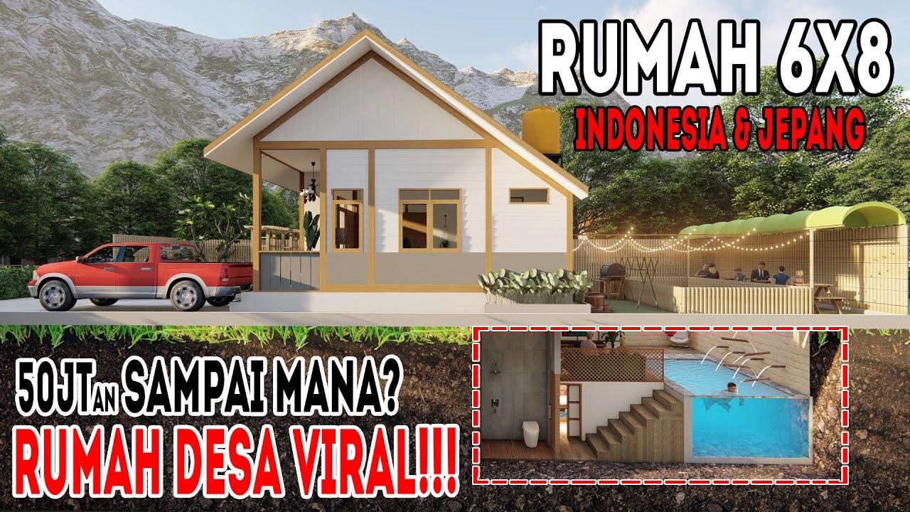 Desain Rumah Di Desa 6x8 Dengan 4kamar Tidur Konsep Indonesia