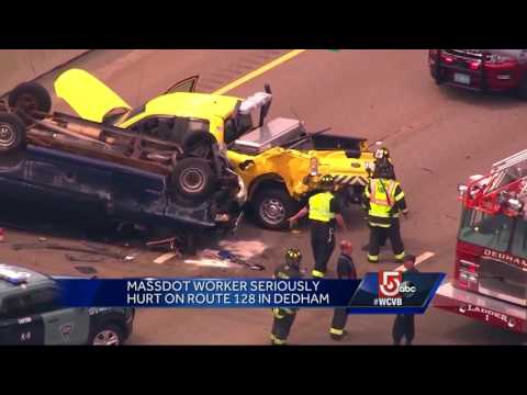 MassDOT worker seriously hurt on Route 128 in Dedham