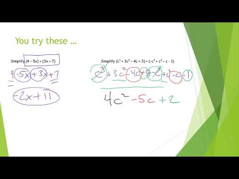 Adding and Subtracting Polynomials Notes