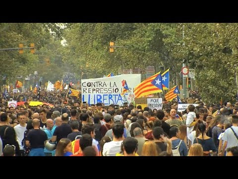 Massive Catalans Protest against Police Violence on Voters of Catalonia Independence Referendum