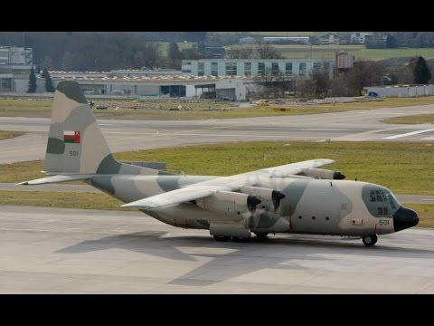 Oman Air Force C-130 Hercules taxiing and take off at ZRH ( beautiful sound )