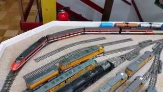 Customized LIMA H0 Scale, orange TGV, 4 pcs lot, dual DCC MOTORIZED locos With SOUND