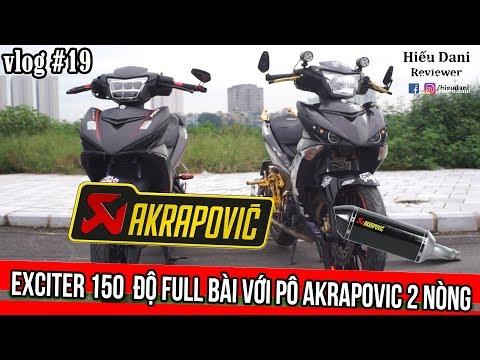 EXCITER 150 lên tem Matte Green Xanh Xám Đen, độ full bài với pô 2 nòng Akrapovic