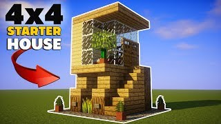 Minecraft: 4x4 Starter House Tutorial - How to Build a House in Minecraft!