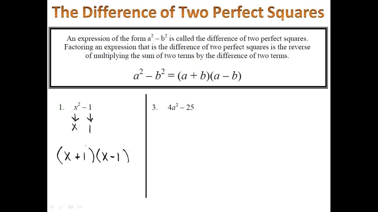 Factoring - Differences of Perfect Squares - YouTube