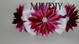 РЕЗИНКА НА ПУЧОК, МК / DIY Kanzashi Flower Bun Garland Headband / DIY Hair Bun Scrunchies Headband