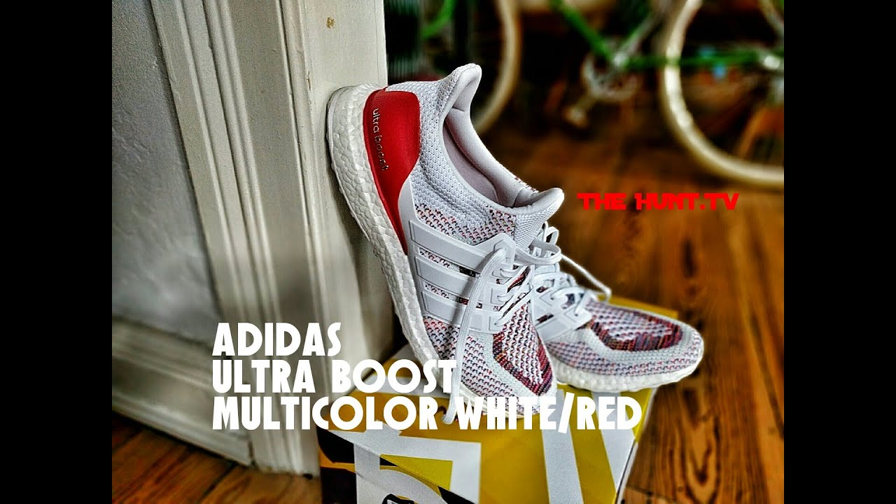 separation shoes 9999c bca17 Adidas Ultra Boost Multicolor White Red Detail   On Feet