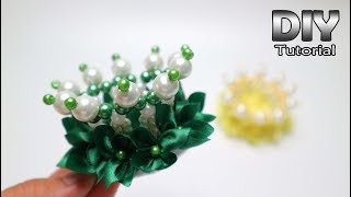 DIY - Hair Clip Pearl Crown for Little Girl Tutorial | With Satin R...