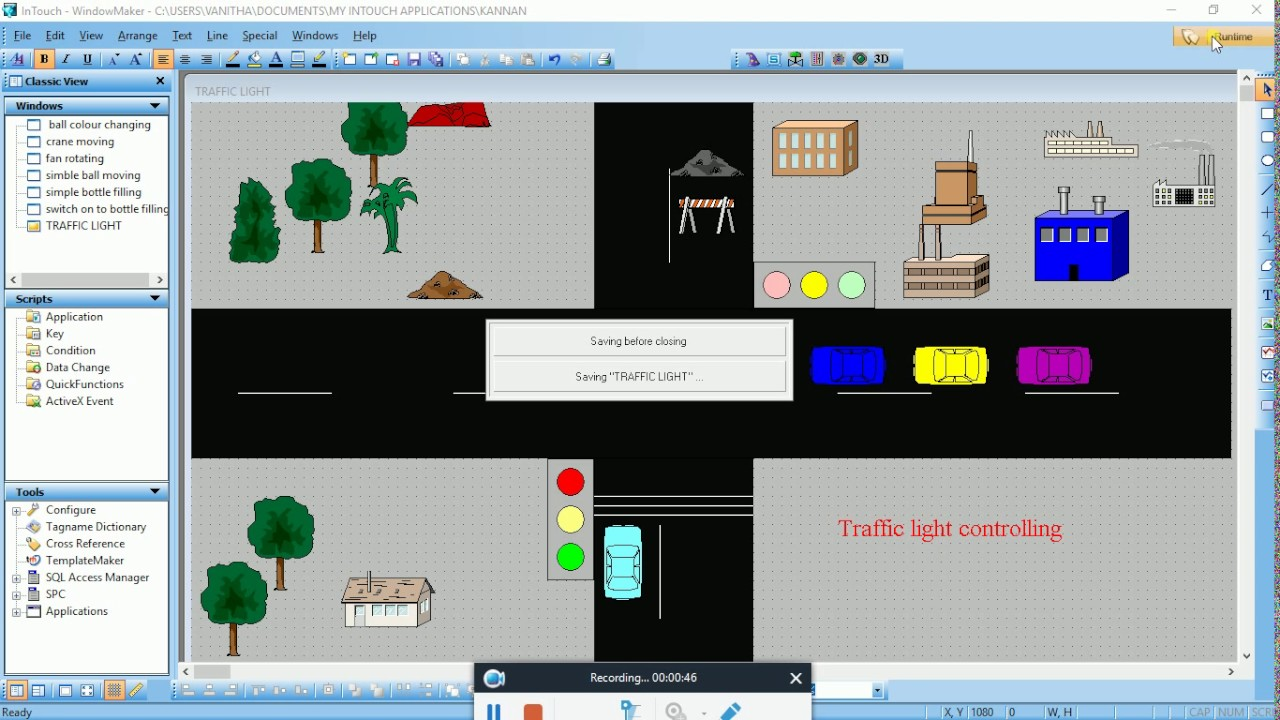 Traffic light controlling model in scada