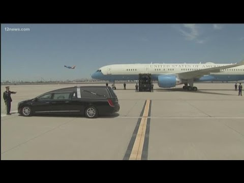 Casket of John McCain departs from Phoenix Sky Harbor