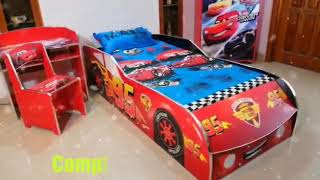 Cars Bed Wardrobe & study Table Theme For Kids Room