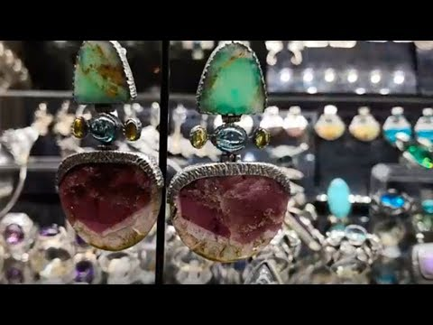 Masterpieces of a jewelry exhibition Silver jewelry Tourmalines, larimara, dioptase