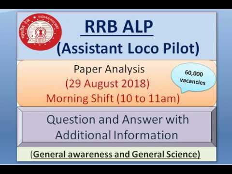RRB ALP(Assistant Loco Pilot) Paper Analysis 29th August (Morning Shift) GK and GS Question