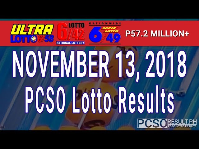 PCSO Lotto Results Today November 13, 2018 (6/58, 6/49, 6/42, 6D, Swertres, STL & EZ2)