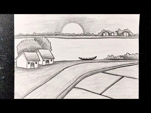 hướng dẫn vẽ tranh đề tài phong cảnh làng quê bằng bút chì   how to draw scenery with pencil