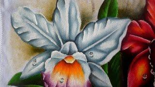 Como pintar Orquídea Branca em tecido