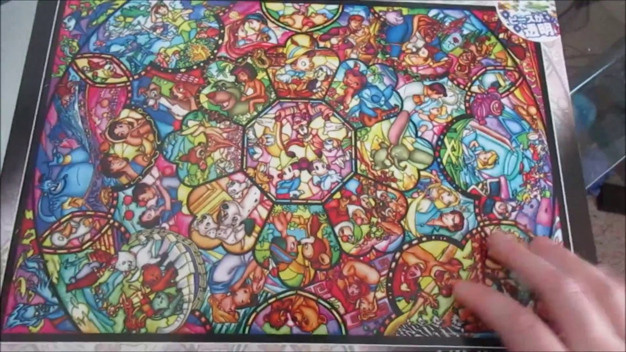 Disney Stained Glass Puzzle.Disney Stained Glass Puzzle Unboxing Tenyo Youtube