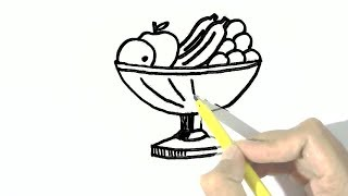 How to draw fruit bowl in  easy steps for children, kids, beginners