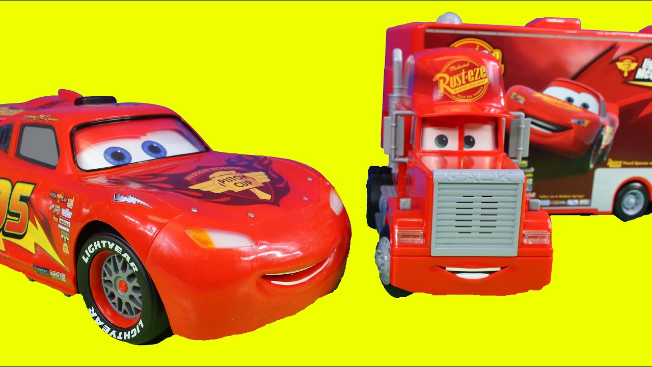 disney pixar cars remote control mack truck crashes into. Black Bedroom Furniture Sets. Home Design Ideas