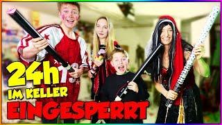 24 Stunden EINGESPERRT IM KELLER 🤠🤡👹🤖👸Karneval Edition - TipTapTube 😁 Familienkanal 👨👩👦👦