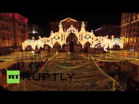 Moscou : éblouissantes illuminations de Noël capturées par drone