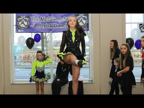 St Patrick's day Mcgee school of Irish Dance performs at the marshes shopping center DUNDALK