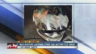 Man on sport bike struck by lightning