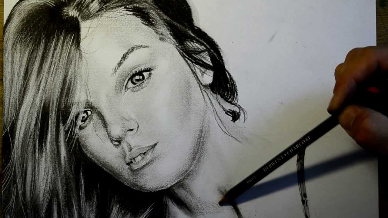 Beautiful girl time lapse drawing