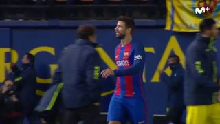 Pique yelling at La Liga president Tebas after the Villarreal game