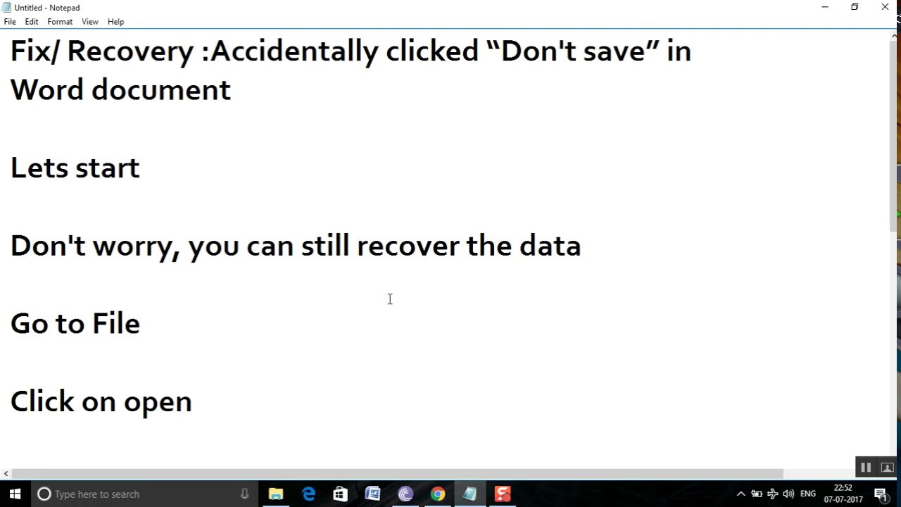 recover word document not saved windows 10