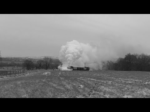 Foxfield Railway 0-4-0ST steam locomotive struggles on the formidable 1 in 19 climb