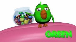 Lustige Hippo-Baby Play mit Grünem Vogel-Spielzeug Für Kinder-Hip-Bi
