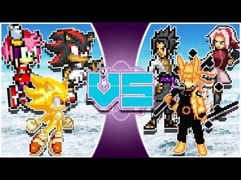 SONIC Vs NARUTO 3 On 3! (Amy, Shadow, Sonic Vs Naruto, Sasuke, Sakura) RUMBLE REWIND!