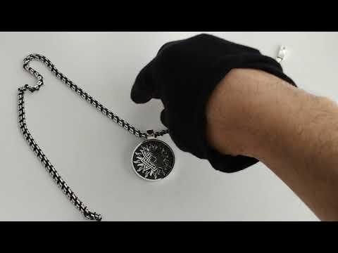 Большой серебряный кулон-оберег Звезда Руси (квадрат Сварога) в Cолнце.